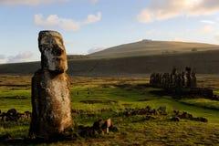 Estátuas de Moai na Ilha de Páscoa Fotografia de Stock