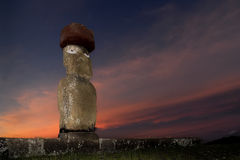 Estátuas de Moai na Ilha de Páscoa Fotografia de Stock Royalty Free