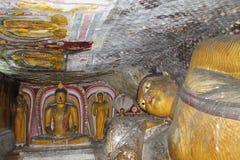 Estátuas de Wonderlful buddha e imagens no templo real da rocha de Dambulla, herança do UNESCO, Sri Lanka Imagem de Stock