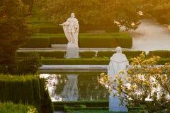 Estátuas do Madri do jardim de Campo del Moro, Espanha fotos de stock