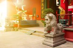Estátuas dos leões do guardião em raios ensolarados fotos de stock royalty free
