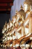 Estátuas douradas da Buda que sentam-se na posição de lótus no templo fotografia de stock royalty free