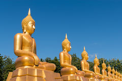 Estátuas douradas de Baddha imagens de stock