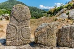 Estátuas pré-históricas nos montes de Córsega - 4 fotos de stock royalty free