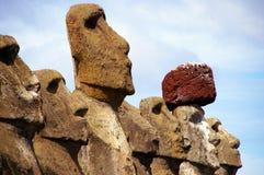 Estátuas Tongariki do console de Easter Fotos de Stock Royalty Free