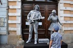 Estátuas vivas de Beeldje os campeões mundiais de estátuas vivas Fotografia de Stock