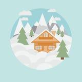 Estância de esqui e chalé nas montanhas com neve e árvores no estilo liso Foto de Stock