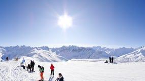 Estância de esqui em Valloire, France Foto de Stock Royalty Free