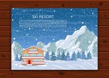 Estância de esqui no fundo nevado da montanha Fotografia de Stock