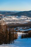 Estância de esqui Sheregesh, distrito de Tashtagol, região de Kemerovo, Rússia Imagens de Stock Royalty Free