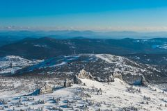 Estância de esqui Sheregesh, distrito de Tashtagol, região de Kemerovo, Rússia Fotografia de Stock