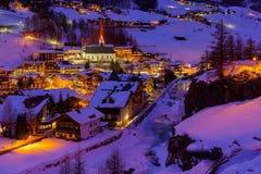 Estância de esqui Solden Áustria das montanhas - por do sol Fotos de Stock Royalty Free