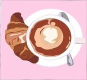 Estão aqui uma caneca do cappuccino e um croissant ilustração stock