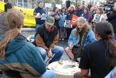 ESTÉ DESOCUPADO NO MÁS - Guelph, protesta de Ontario Imágenes de archivo libres de regalías