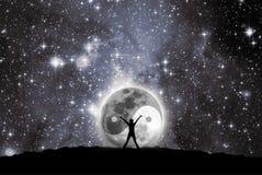 Esté en la luna con la muestra del yin y del yang Foto de archivo