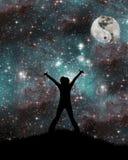 Esté en la luna con la muestra del yin y del yang Imagen de archivo libre de regalías