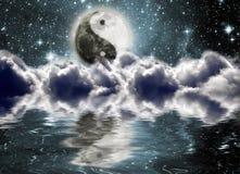 Esté en la luna con una muestra del yin y de yang Ilustración del Vector
