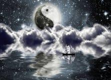 Esté en la luna con una muestra del yin y de yang Stock de ilustración