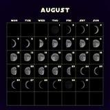 Esté en la luna el calendario de las fases para 2019 con la luna realista August Vector stock de ilustración