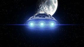 Esté en la luna en el fondo, nave espacial extraterrestre de la ciencia ficción que se acerca al satélite natural Los motores pot stock de ilustración