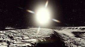 Esté en la luna el planeta superficial o extranjero con la representación de los cráteres 3d ilustración del vector