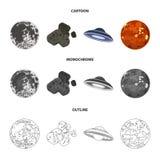 Esté en la luna, Venus del planeta de la Sistema Solar Nada, un meteorito Los planetas fijaron iconos de la colección en la histo Imágenes de archivo libres de regalías
