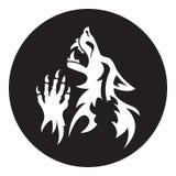 Estêncil do homem-lobo do vetor cor Branco-preta Foto de Stock Royalty Free