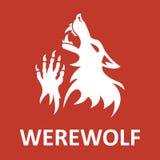 Estêncil do homem-lobo do vetor Cor vermelha Fotografia de Stock