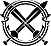 Estêncil do teste padrão e de espadas cruzadas Fotografia de Stock