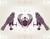 Estêncil egípcio de Horus e de Scarab Foto de Stock