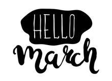 Estêncil isolado preto e branco do cartaz da rotulação da mão Olá! o mês de março Vetor ilustração royalty free