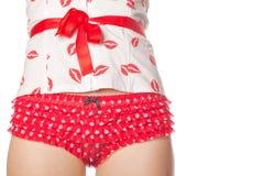 Estómago de la chica joven sana en corsé y pantie Foto de archivo libre de regalías