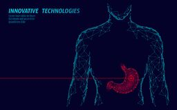 Estómago sano humano del tratamiento de la droga de la medicina Órgano interno de la digestión Triángulo conectado polivinílico b stock de ilustración
