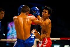 Estómago tailandés del retroceso del boxeo de Muay Foto de archivo