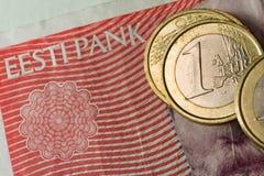 Estónia e o euro imagem de stock
