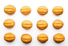 Estúdio branco do fundo do leite condensado das cookies imagem de stock royalty free