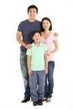 Estúdio cheio do comprimento disparado da família chinesa Imagem de Stock