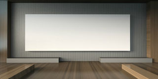 Estúdio da galeria de artes e cadeira mínima da exposição e quadros de imagens brancos Fotografia de Stock Royalty Free