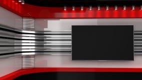 Estúdio da tevê Contexto para programas televisivo Tevê na parede Estúdio da notícia O p imagens de stock royalty free