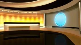 Estúdio da tevê Estúdio da notícia Sala de notícia Notícias de última hora rendição 3d video estoque