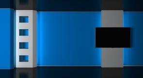 Estúdio da tevê Estúdio da notícia Sala de notícia Notícias de última hora rendição 3d Imagens de Stock Royalty Free