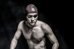 Estúdio disparado de um nadador considerável Fotografia de Stock Royalty Free