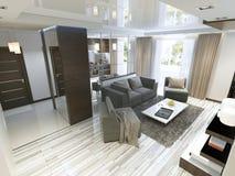 Estúdio luxuoso da sala de visitas em um estilo moderno Fotografia de Stock Royalty Free
