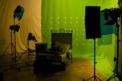 Estúdio verde da tela Fotografia de Stock