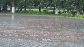 Est? lloviendo, all? es burbujas en la acera Una cierta situaci?n de la mujer debajo de un paraguas en la distancia almacen de metraje de vídeo