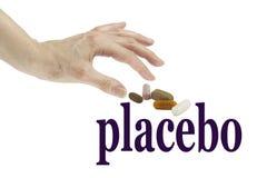 Est lui vrai ou un placebo image libre de droits
