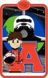 A est pour l'astronaute Photo stock