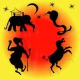 Est, serpent, âne, étoiles, lune, éléphant, homme, sultan Images libres de droits