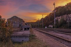 Estação Bakov nad Jizerou em Boêmia central Fotos de Stock