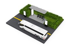 Estação branca grande da parada do ônibus de Tour Bus Near do treinador com Billbo vazio Fotos de Stock Royalty Free